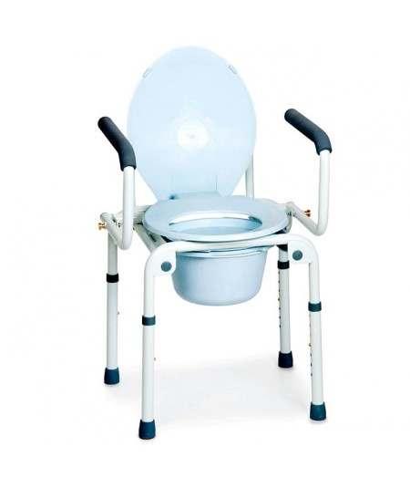 Silla ducha con WC. 4 funciones en 1 sin ruedas con reposabrazos abatibles