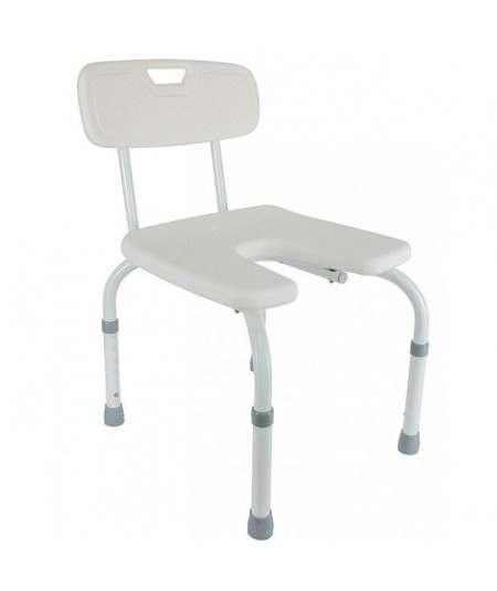 Silla de ducha con respaldo, altura graduable y asiento en forma de herradura. Samba ADAS