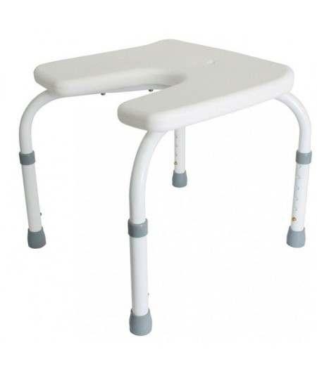 Taburete de ducha, altura graduable y asiento en forma de herradura. Samba ADAS
