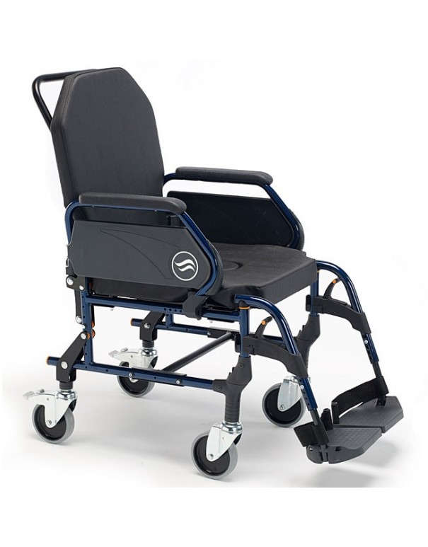 SUNRISE Breezy Home 3002 A silla de ruedas en acero con inodoro ruedas traseras pequeñas y respaldo fijo