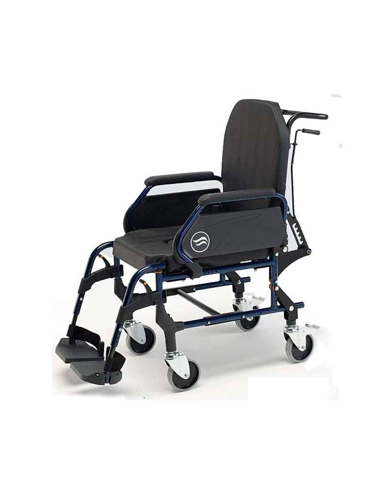 Silla de ruedas en acero con inodoro SUNRISE Breezy Home ruedas traseras pequeñas y respaldo reclinable 3018