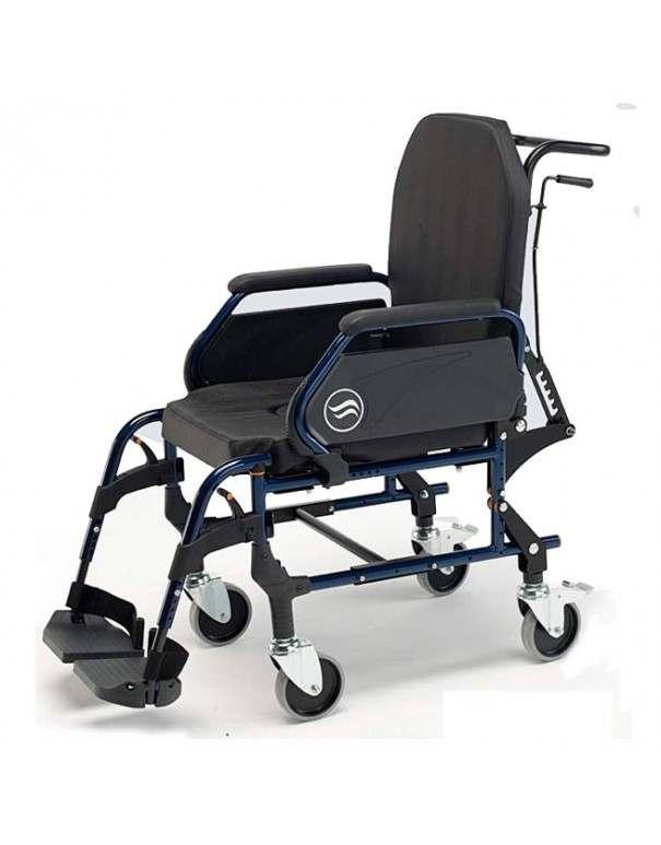 SUNRISE Breezy Home 3018 A silla de ruedas en acero con inodoro ruedas traseras pequeñas y respaldo reclinable